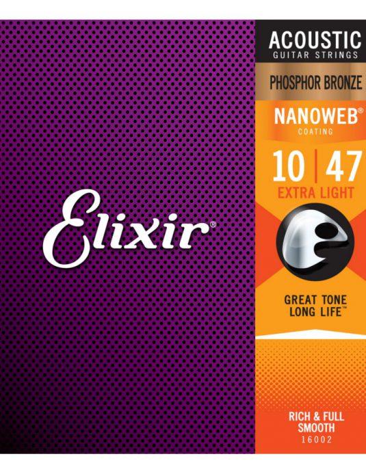 Elixir Nanoweb Phosphor Bronze 10-47 struny do gitary akustycznej