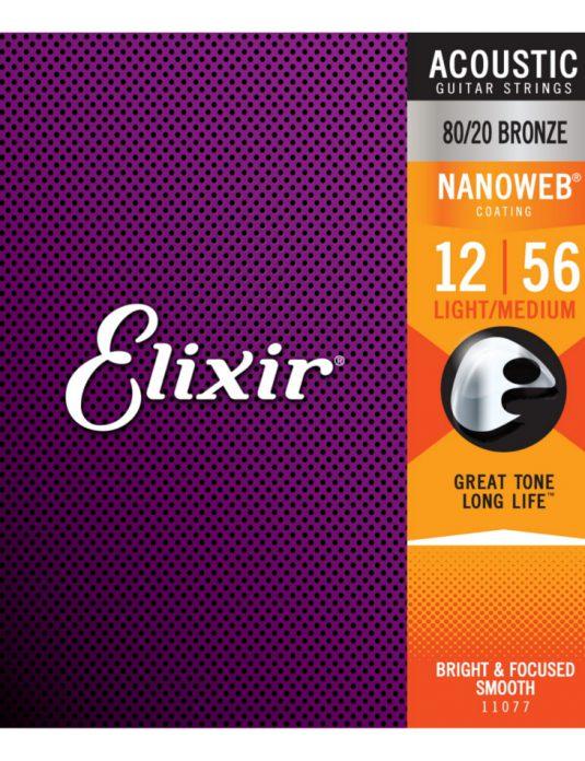 Elixir Nanoweb Bronze 12-56 struny do gitary akustycznej