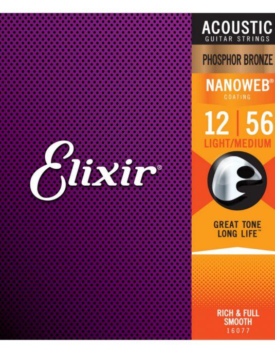 Elixir Nanoweb Phosphor Bronze 12-56 struny do gitary akustycznej