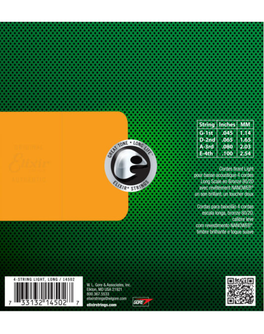 Elixir Nanoweb 45-100 struny do gitary basowej akustycznej