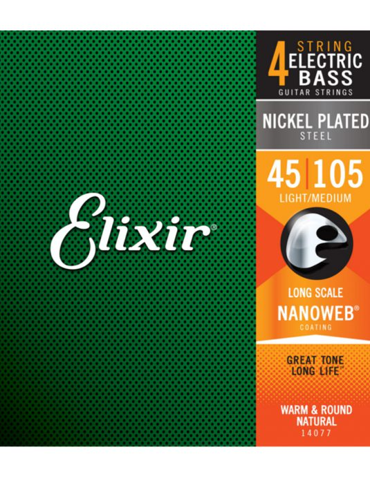Elixir Nanoweb 45-105 struny do gitary basowej
