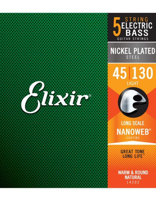Elixir Nanoweb 45-130 struny do gitary basowej 5-strunowej