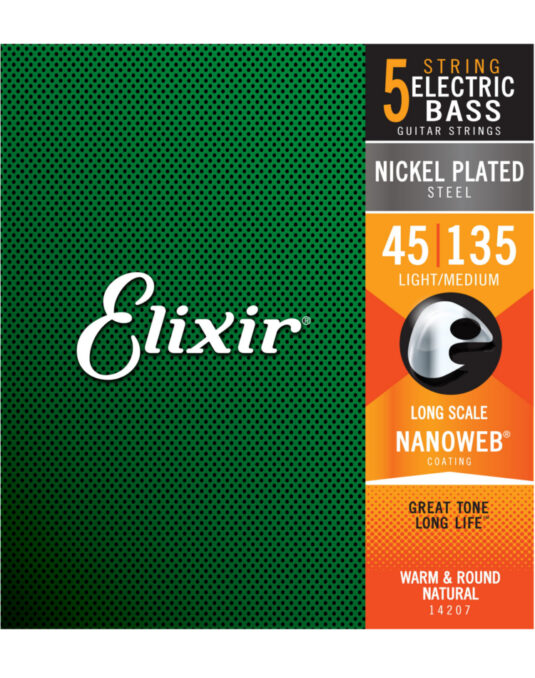 Elixir Nanoweb 45-135 struny do gitary basowej 5-strunowej