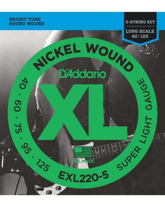 Daddario EXL220-5 40-125 struny do gitary basowej 5-cio strunowej